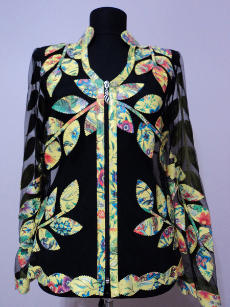 Flower Pattern 1 Yellow Leather Leaf Jacket for Woman V Neck Design 10 Genuine Short Zip Up Light Lightweight [ Click to See Photos ]