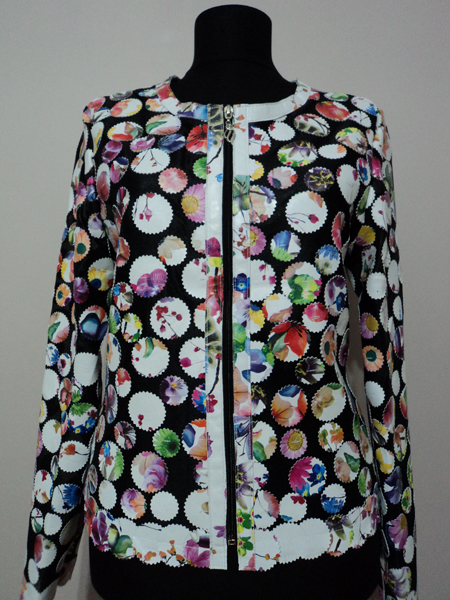 Flower Pattern White Leather Leaf Jacket for Women Design 07 Genuine Short Zip Up Light Lightweight