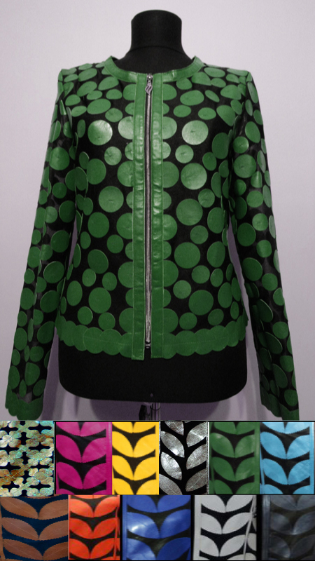 Leather Leaf Jacket for Woman Design 07 Genuine Short Zip Up Light Lightweight [ Click to See Photos ]