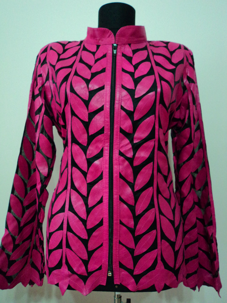 Pink Leather Leaf Jacket for Women Design 04 Genuine Short Zip Up Light Lightweight