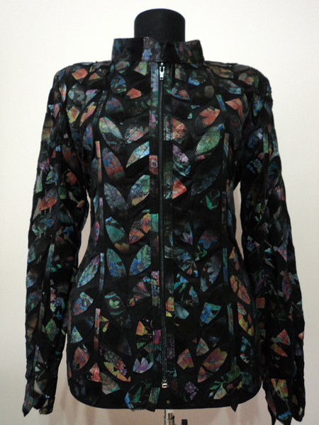 Plus Size Flower Pattern Black Leather Leaf Jacket for Women Design 04 Genuine Short Zip Up Light Lightweight