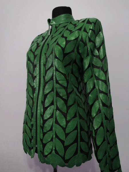 Plus Size Green Leather Leaf Jacket for Women Design 04 Genuine Short Zip Up Light Lightweight