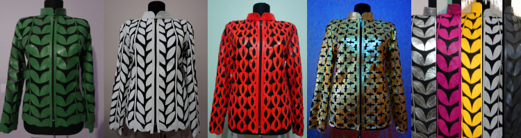 Click to See All Available Designs and Colors of Plus Size Leather Leaf Jackets at Once