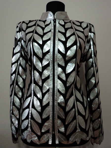 Silver Gray Leather Leaf Jacket for Women Design 04 Genuine Short Zip Up Light Lightweight