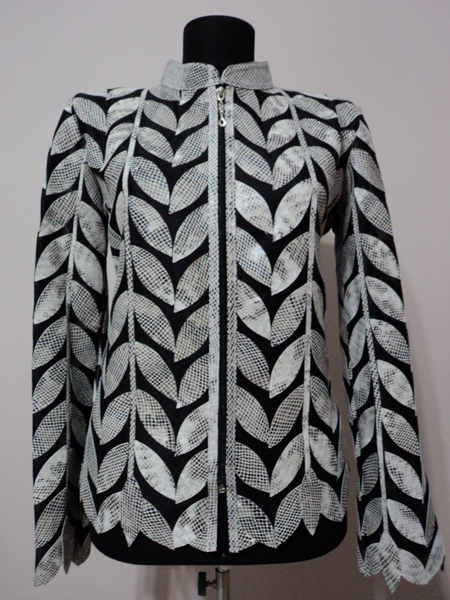 White snake Pattern Leather Leaf Jacket for Woman Design 04 Genuine Short Zip Up Light Lightweight